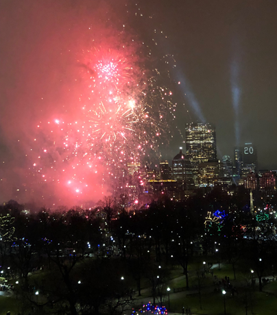 New Year's Eve fireworks over Boston Common