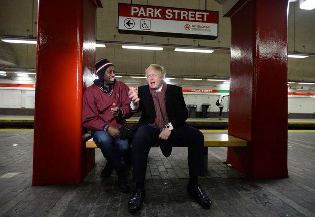 Boris Johnson on the Red Line with one of the few other riders during a 2015 blizzard?
