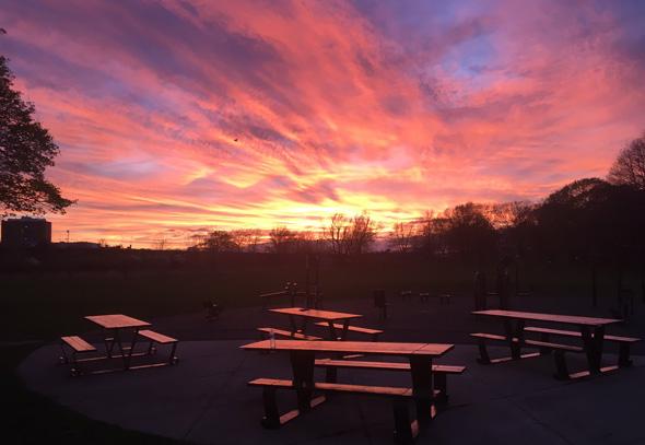 Sunset over Boston