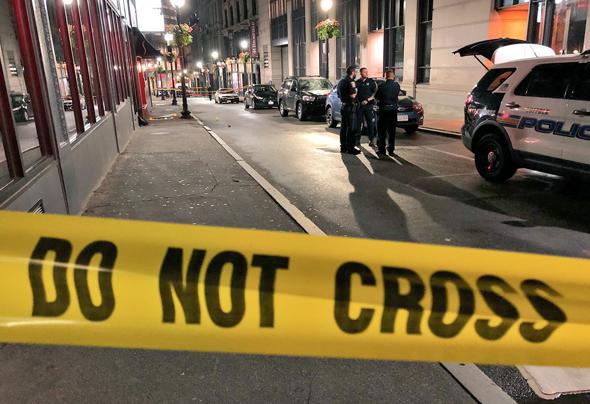 Stabbing scene on Bromfield Street