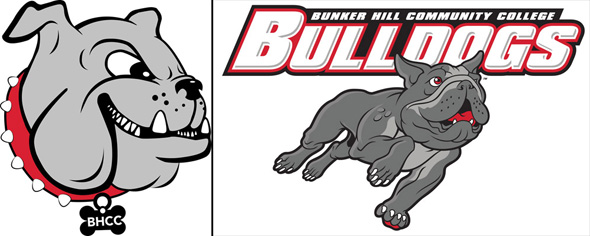 Old and new Bunker Hill Community College bulldogs