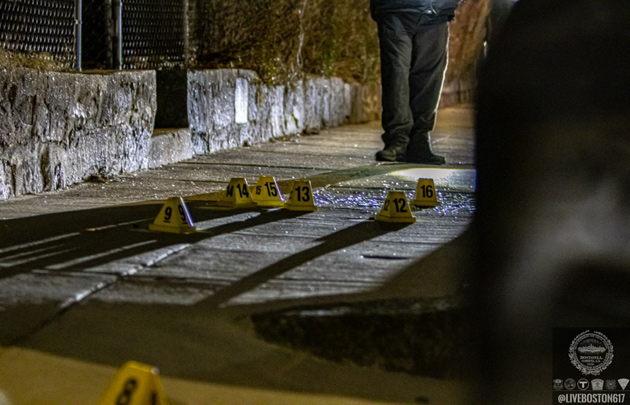 Evidence markers on Waverly Street.