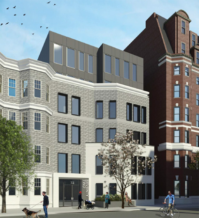 Architect's rendering of 72 Burbank St.