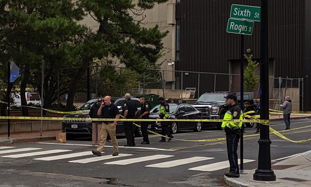 Cambridge police shooting scene