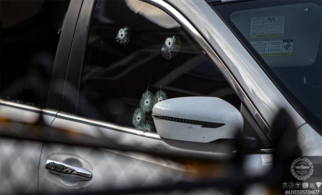 Shot up car on Harrishof Street in Roxbury