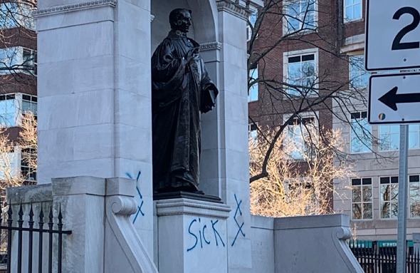 William Ellery Channing all tagged up on Arlington Street in the Back Bay
