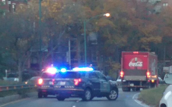 Coke truck being turned around on Storrow Drive