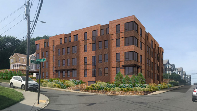 Architect's rendering of proposed 249 Corey Rd. building