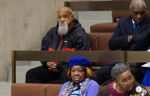 Former City Councilor Chuck Turner attends meeting on Mattapan High School