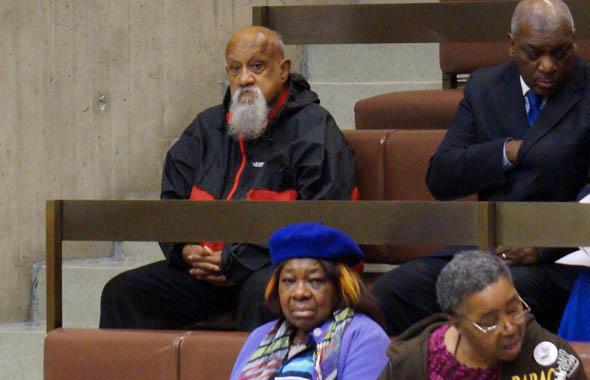 Former City Councilor Chuck Turner attends meeting on Mattapan High School