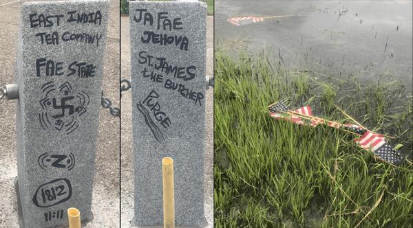 Damage at memorial