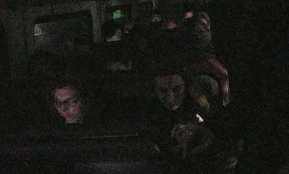 Onboard a darkened, dead Needham Line train near Ruggles