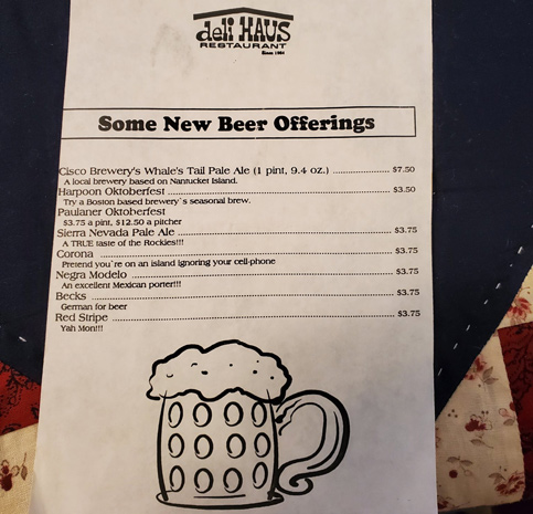 New beer offerings at the Deli Haus in Kenmore Square