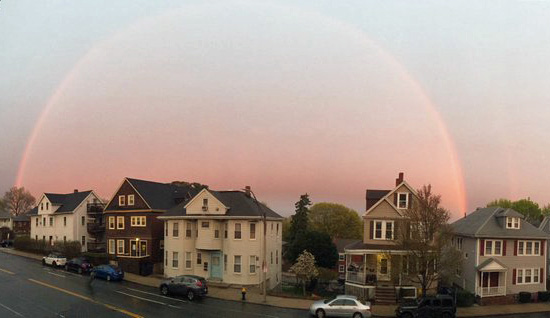 Rainbow over Centre Street in West Roxbury