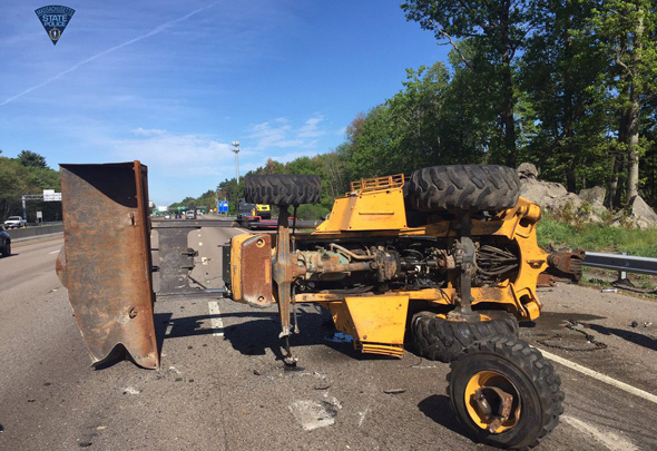 Crashed machinery on I-93 in Canton