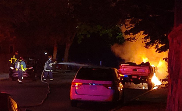 Exploding pickup in Roxbury