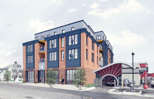 Architect's rendering of proposed 11 Faneuil St. building