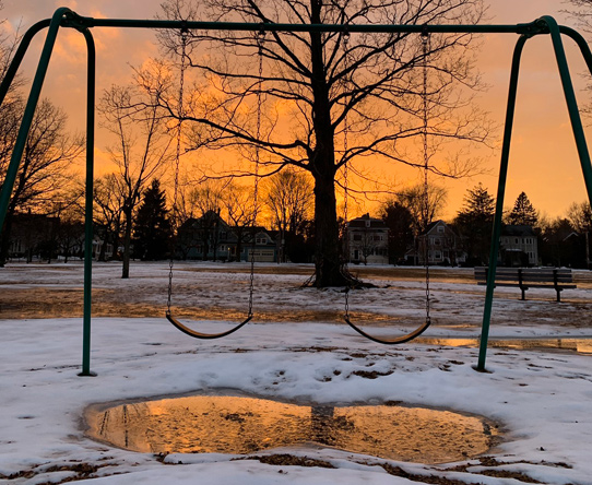 Sunset in West Newton