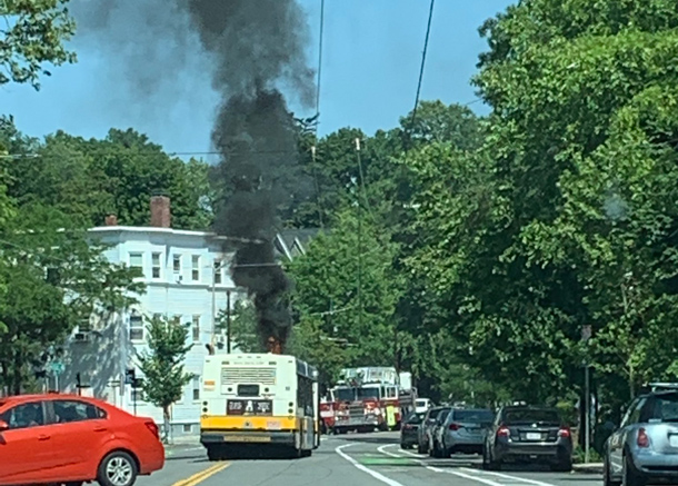 MBTA bus on fire in Cambridge