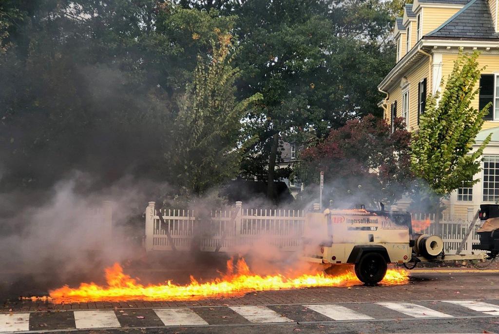 Street on fire in Cambridge