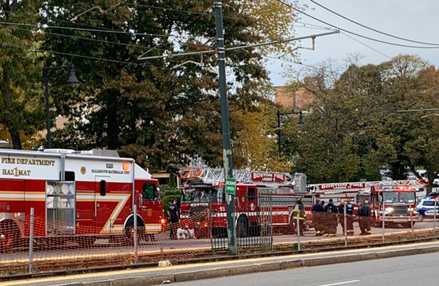 Fluid-leaking firetruck on Commonwealth Avenue service lane
