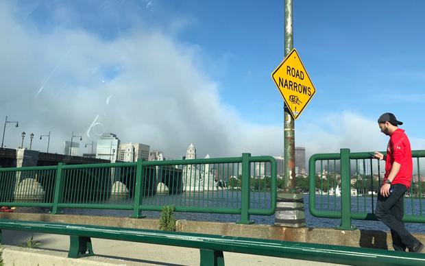 Fog rolling in over Boston