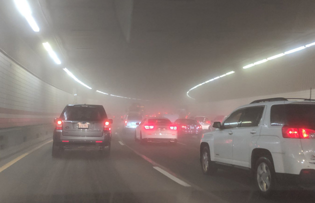 Foggy O'Neill Tunnel in downtown Boston