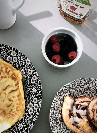 French toast crepes with berries and maple syrup