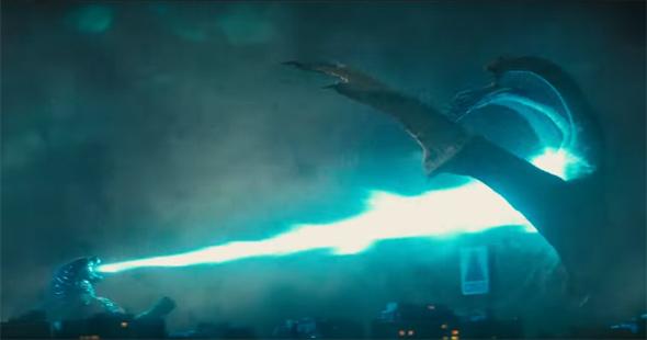 Godzilla battles Ghidorah in Kenmore Square