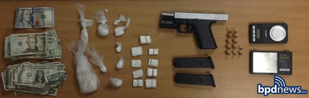 Seized gun and drugs