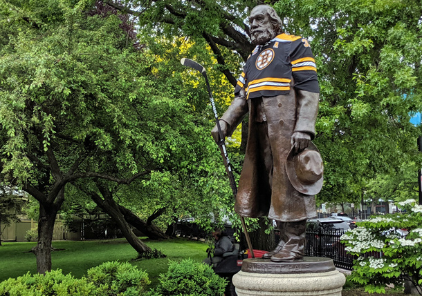 Edward Everett Hale in a Bruins jersey