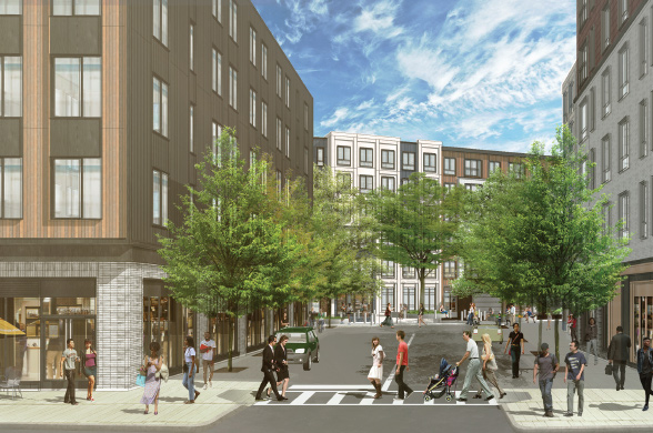 Rendering of the view into the project from Hancock Street