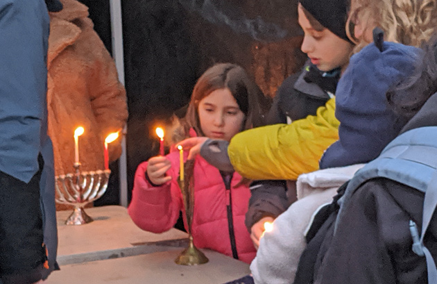 Menorah lighting in Adams Park in Roslindale Square