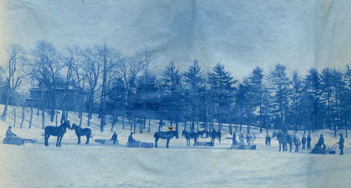 Horses in the snow in old Boston