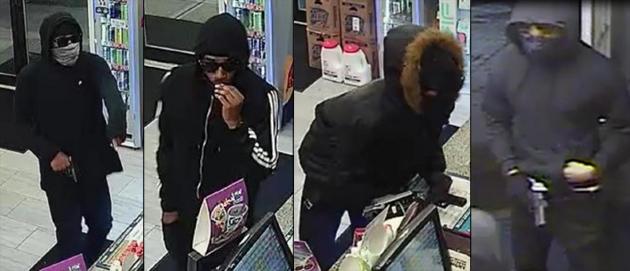Armed robber on several surveillance videos