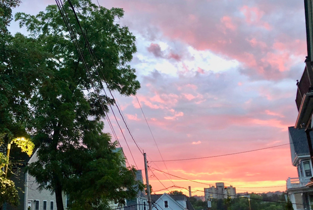 Post-rain sunset over Jamaica Plain