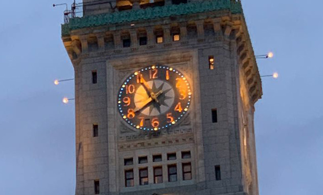 Custom House tower and clock, running slow