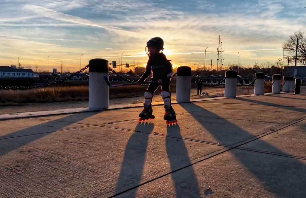 Skater at sunset on Savin Hill