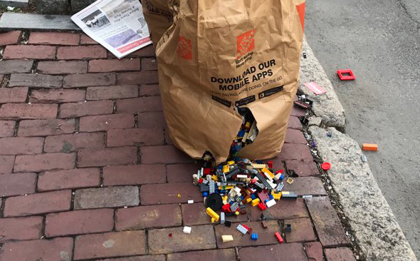 Legos spilling out of a back on Dartmouth Street