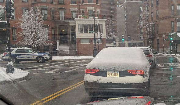 Car in the South End whose driver didn't clear the rear window of snow