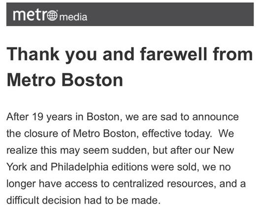 Boston Metro announces its immediate shutdown