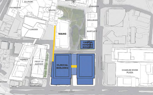 Map of proposed new buildings at Massachusetts General Hospital