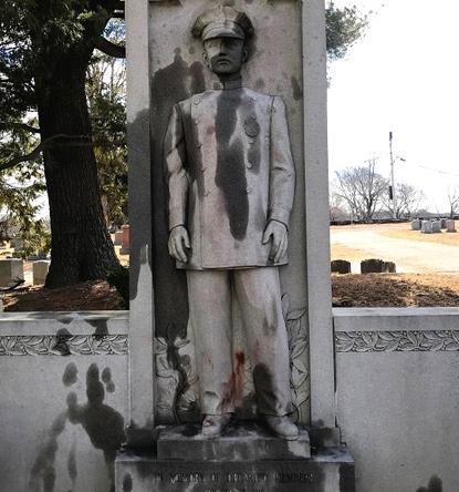 Vandalized memorial at Mt. Hope Cemetery in Mattapan