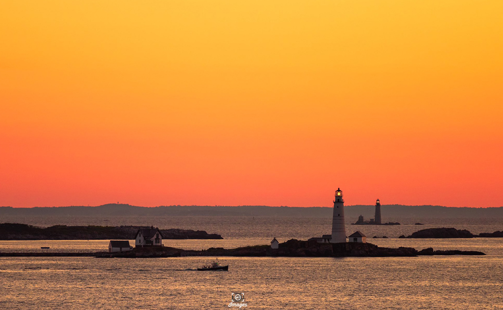 Sunrise over Boston and Graves lighthouses