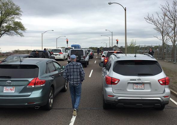 Morrissey Boulevard drawbridge was stuck today