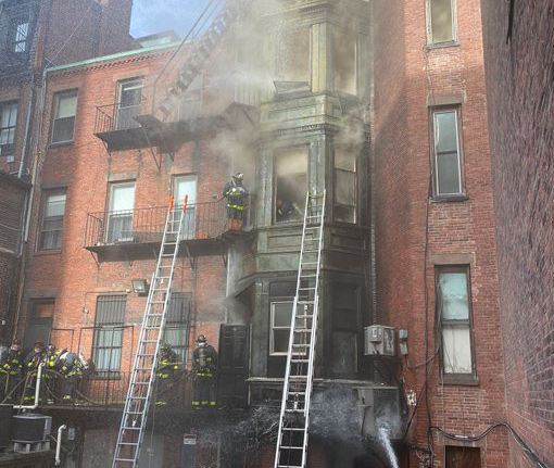 Fire on Newbury Street in the Back Bay