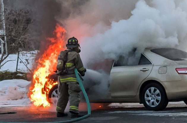 Car fire in Acton