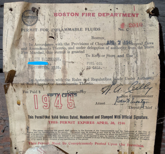 Old fuel-oil tank certificate issued by Boston Fire Department in 1946