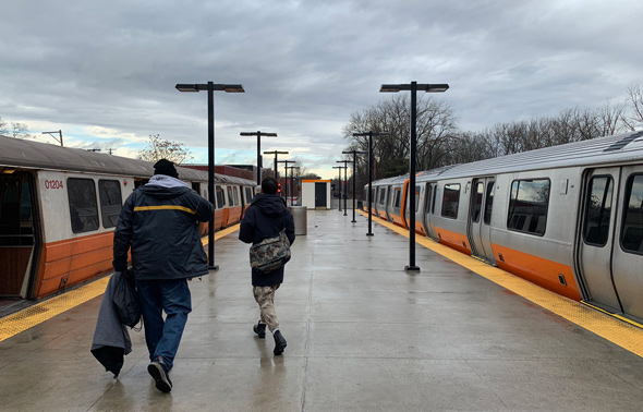 Old and new Orange Line cars at Oak Grove