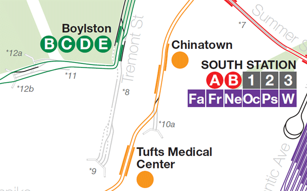 Part of MBTA track map, showing abandoned Green Line tracks